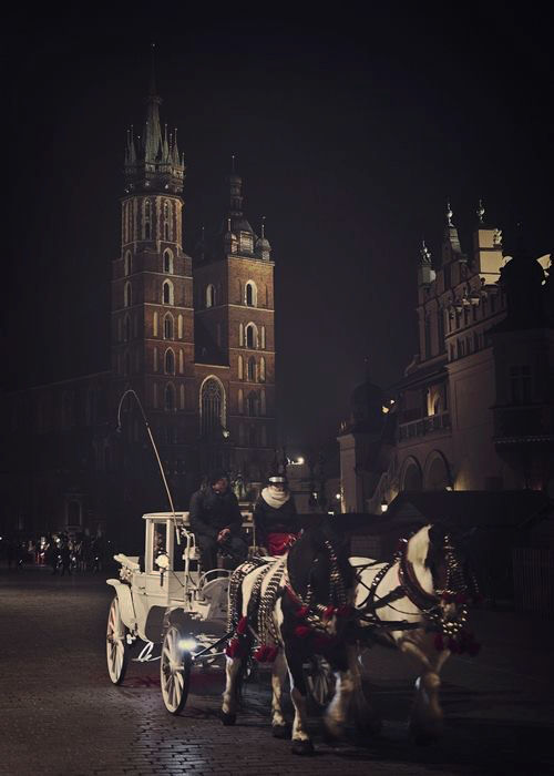 horse carriage in main square in krakow