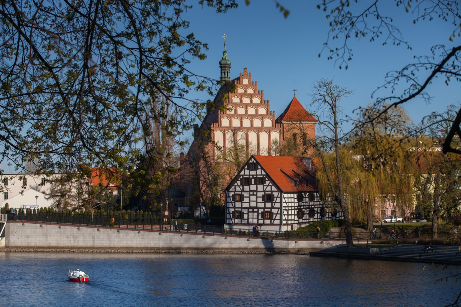 cathedral and brda river in bydgoszcz