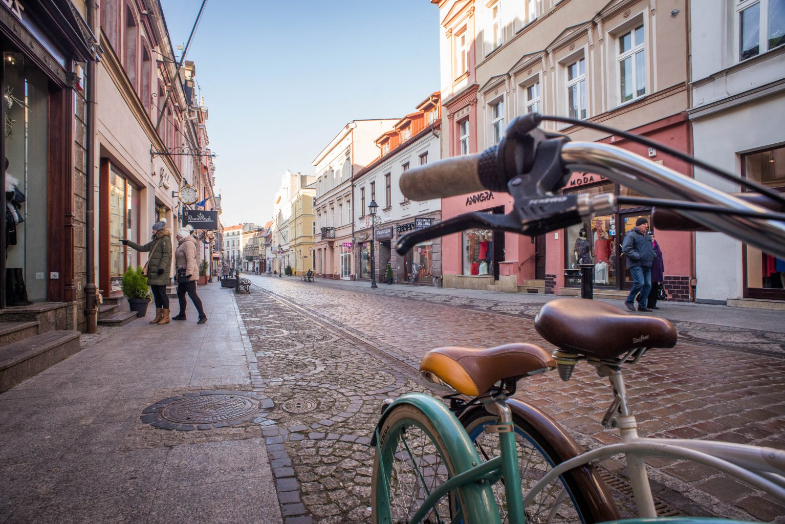 bike on the dluga street in the heart of bydgoszcz