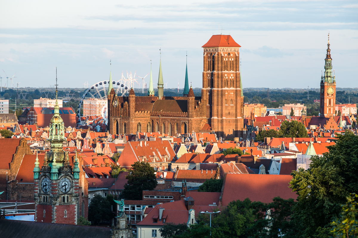 saint mary church and panoramic view of gdansk