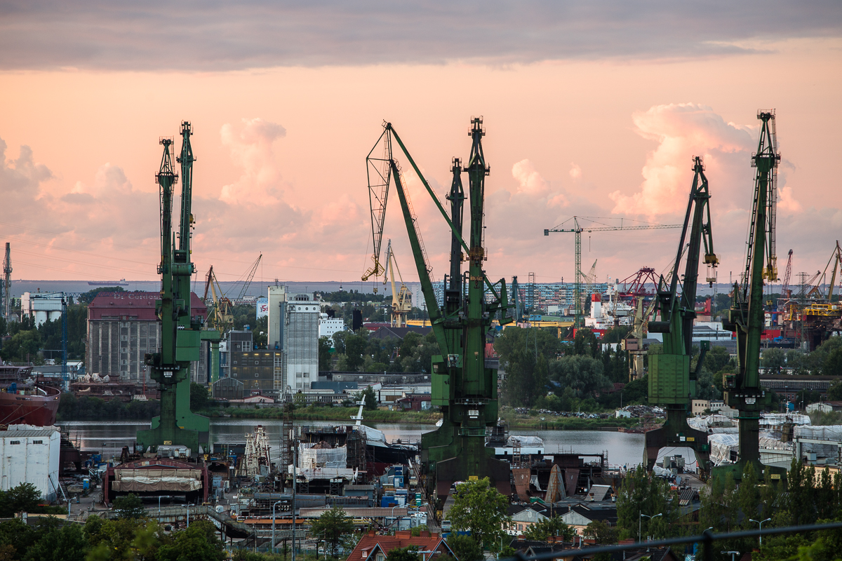 harbor cranes in gdansk