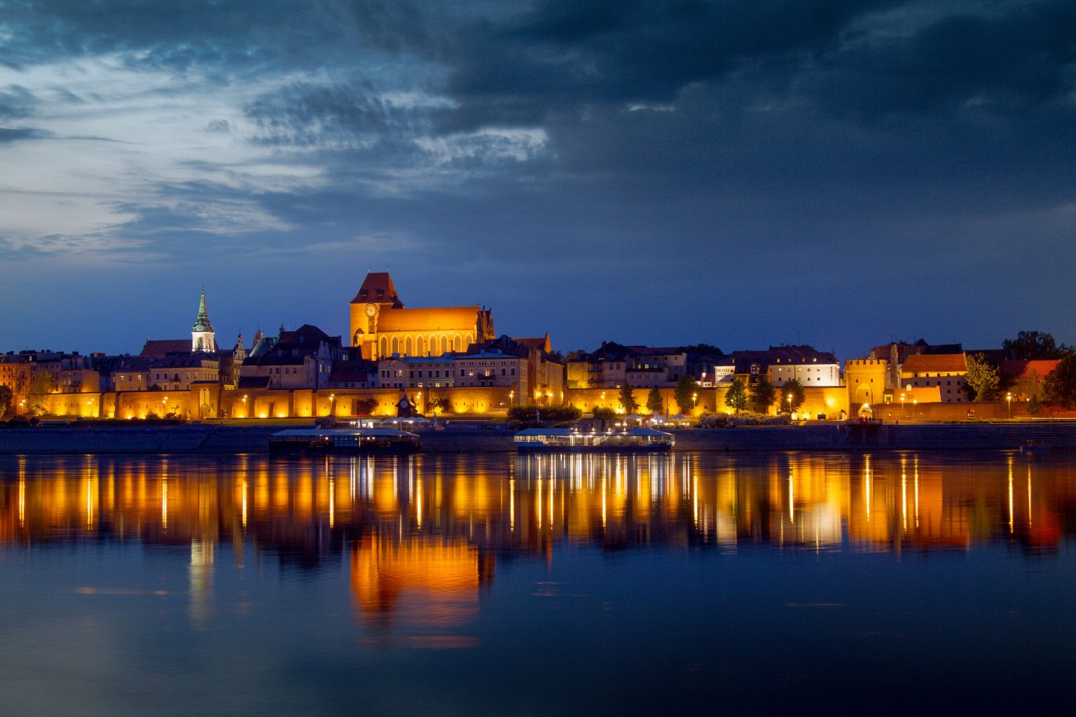 panoramic view in the evening in torun