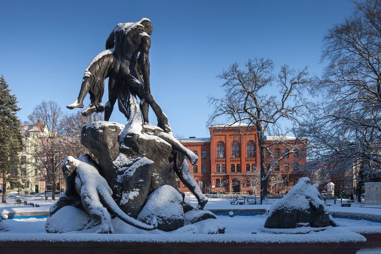 deluge fountain in winter in bydgoszcz