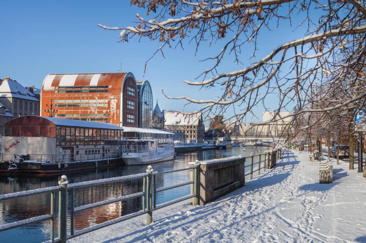 granaries in bydgoszcz in winter