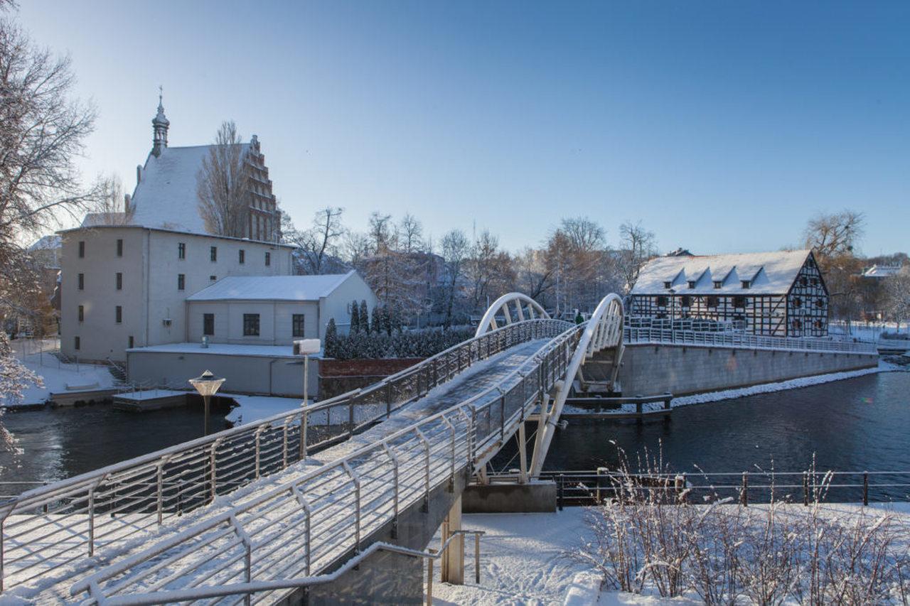 mill island in Bydgoszcz in winter