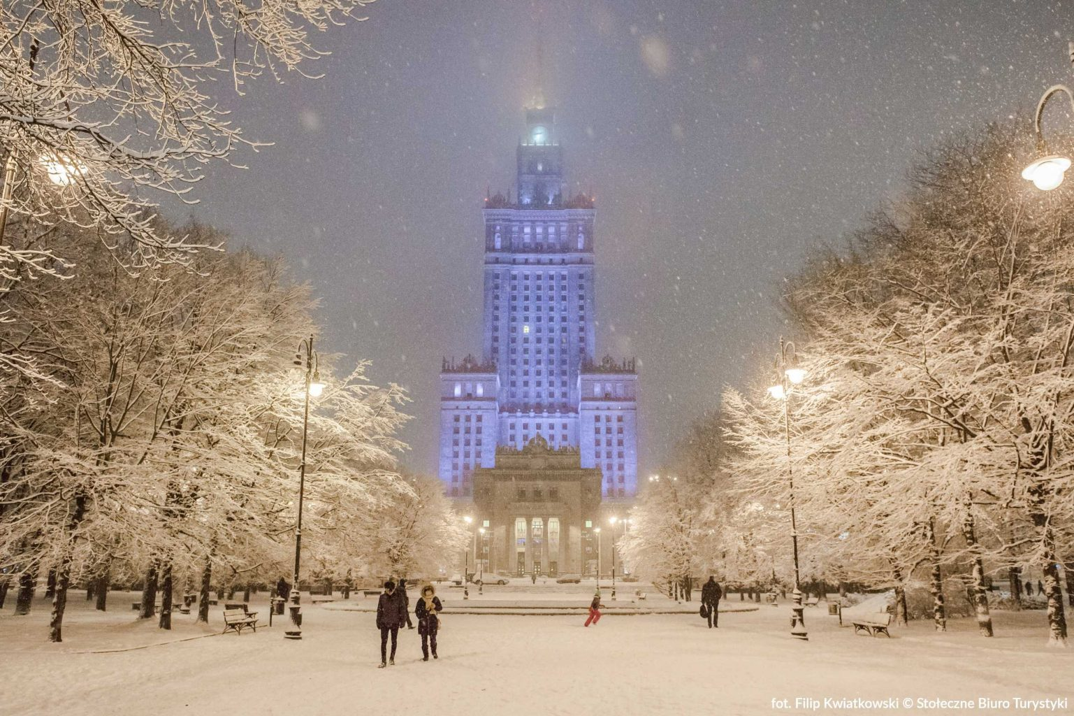 palace of science and culture warsaw in winter